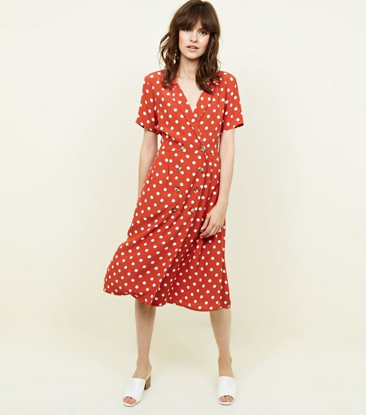 3. orange-spot-print-double-breasted-midi-dress