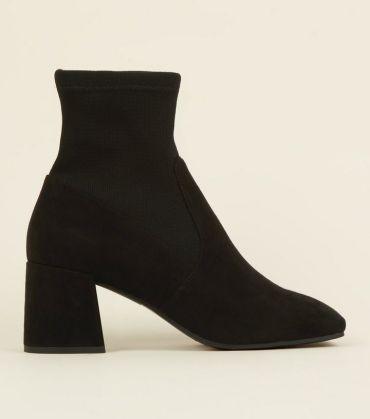 6. black-suedette-flared-block-heel-sock-boots